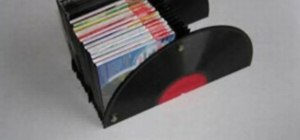 Make a DVD or CD holder from old records