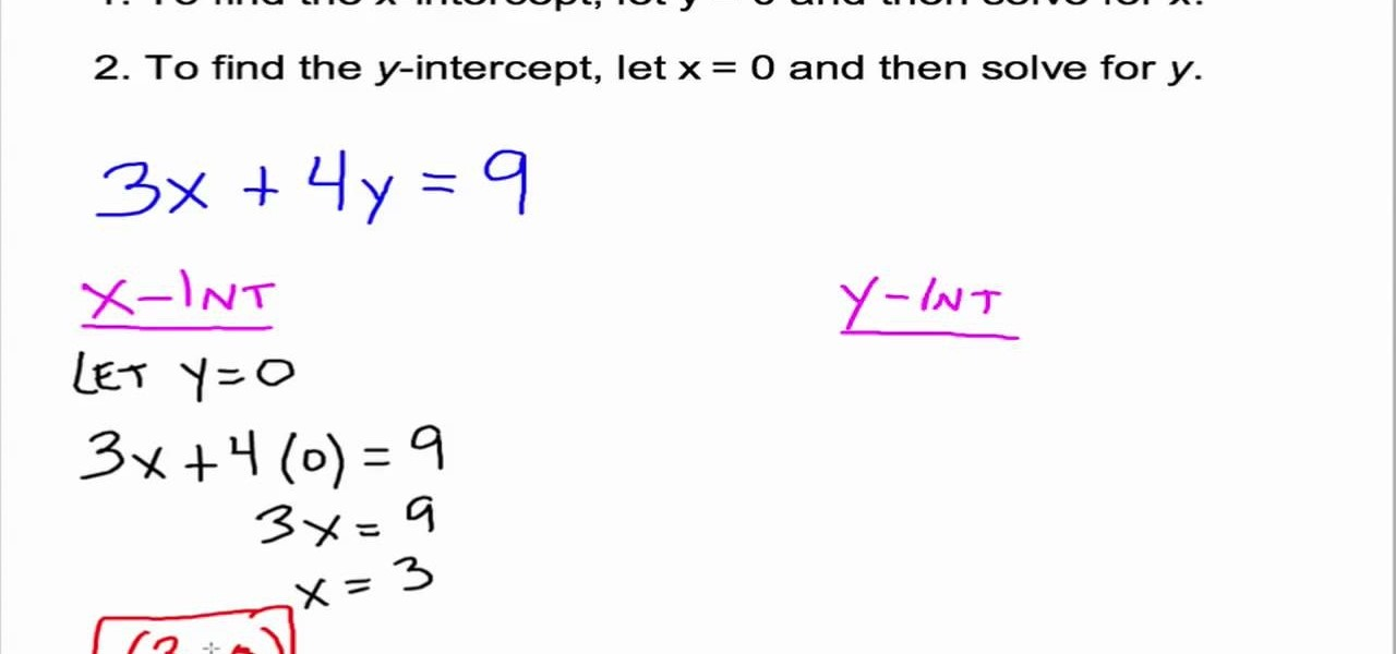 How To Use And Find X Y Intercepts In Algebra Math Wonderhowto