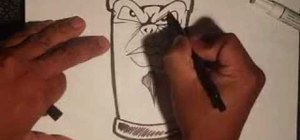 Draw an animated graffiti spraycan with a goatee