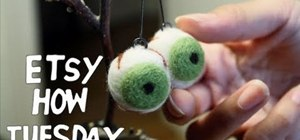 Needle felt eyeballs out of wool and foam
