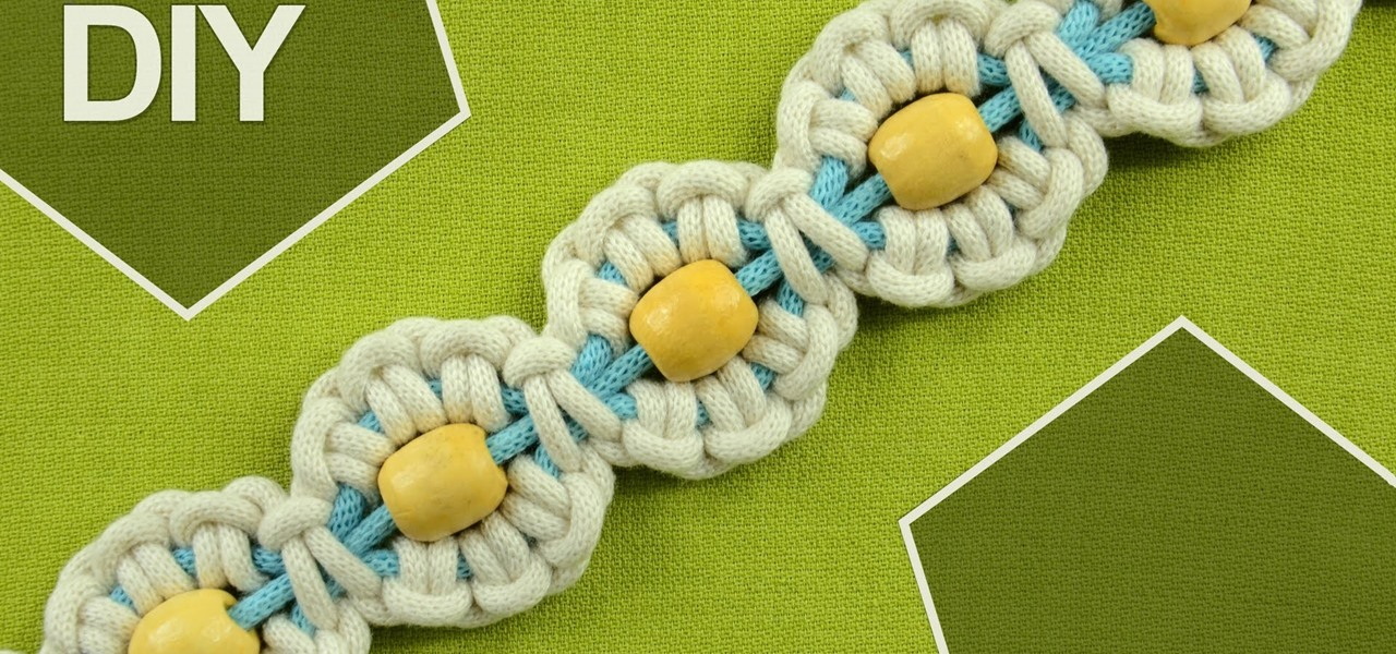 Macrame Flower Motif with Pearl in Center