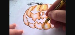 Color a Halloween jack-o-lantern using Crayola crayons
