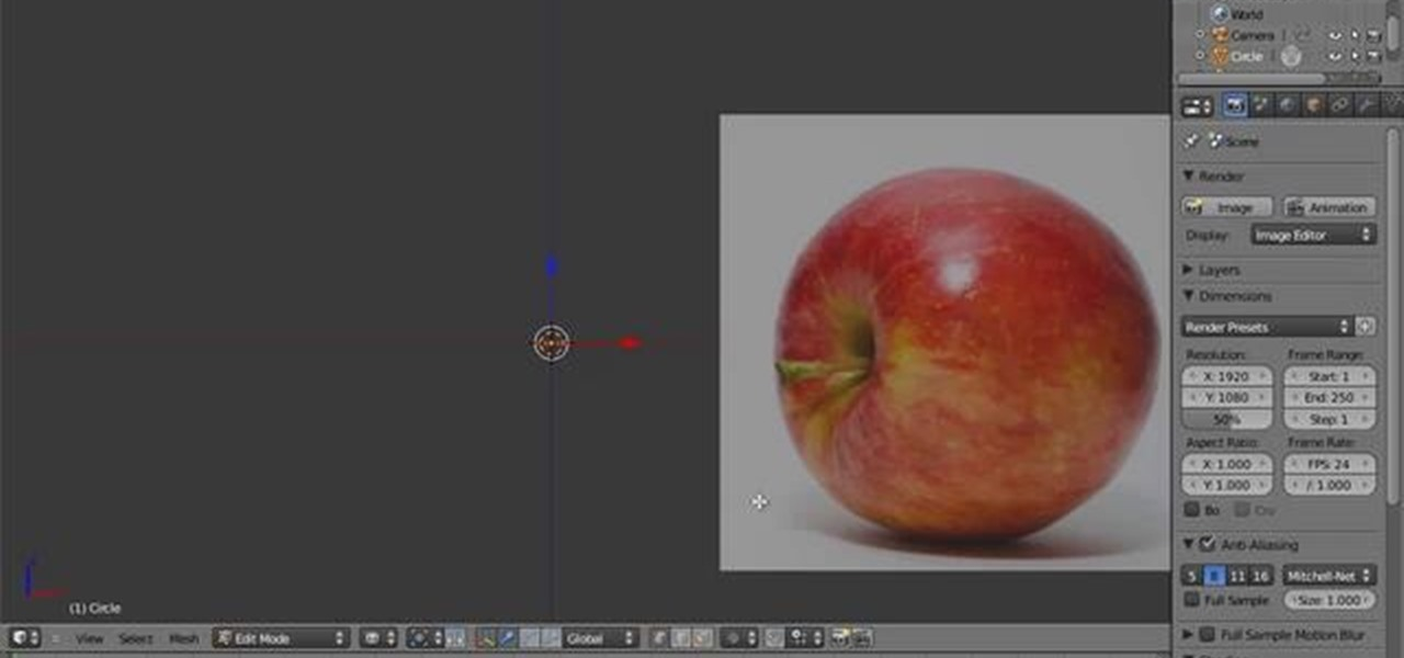 How to Create a 3D model of an apple in Blender 2.5