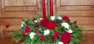 Make a Christmas centerpiece with evergreens & flowers