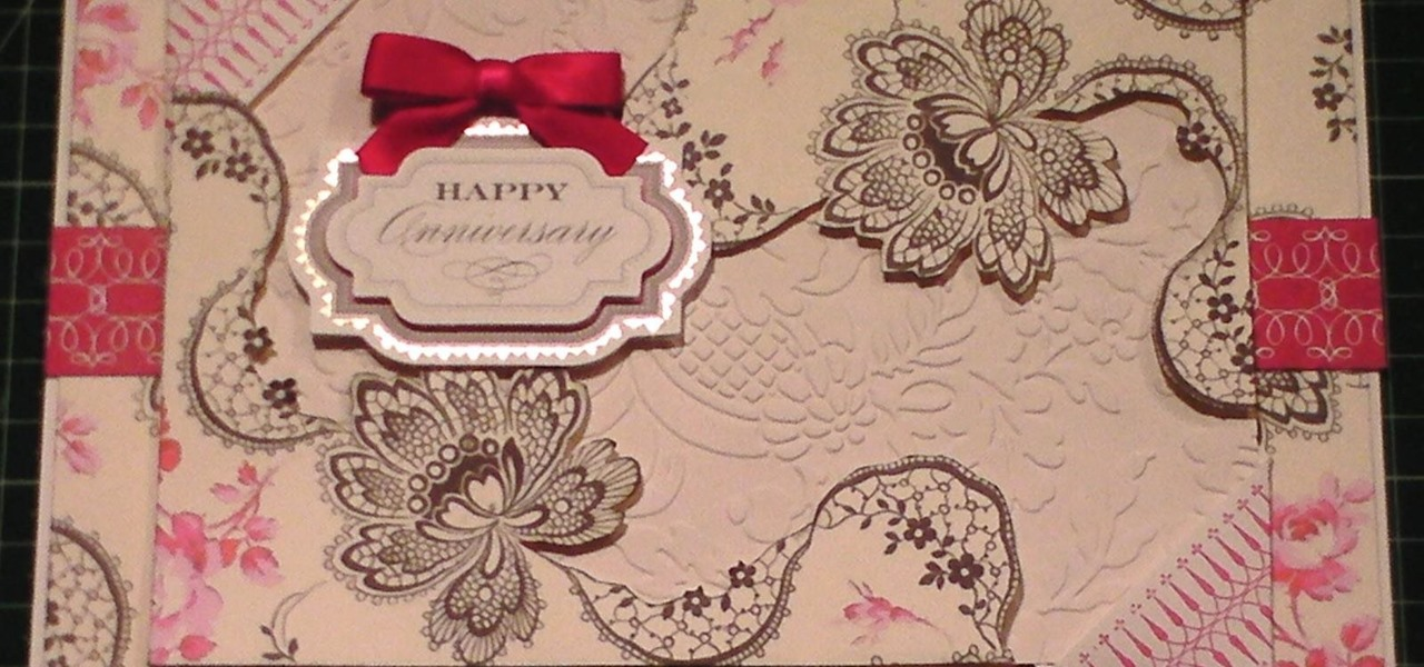 Make Old Floral Black & Cerise Card