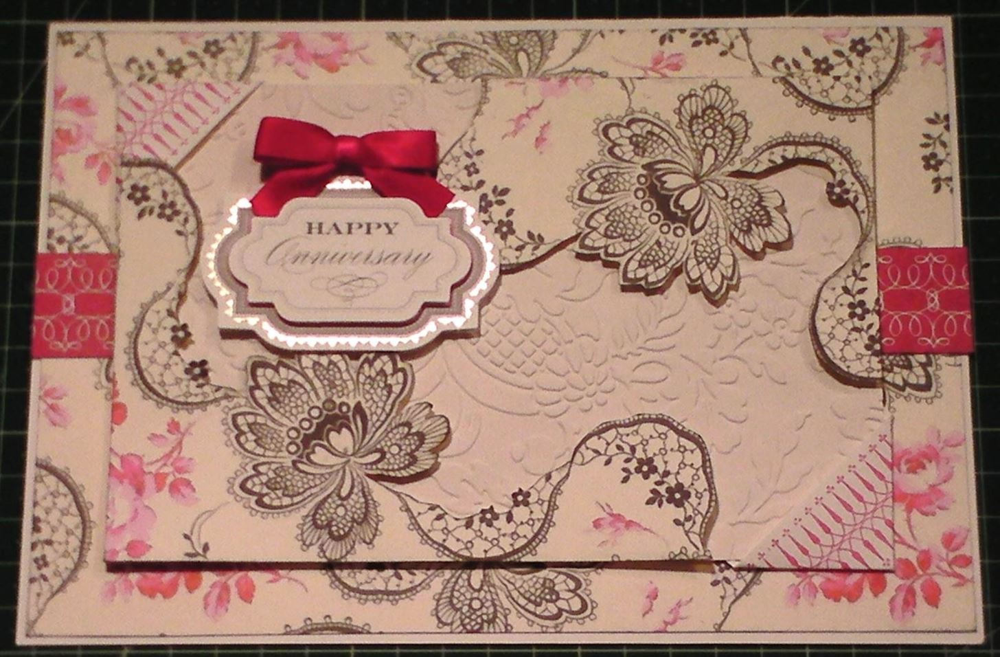 How to Make Old Floral Black & Cerise Card