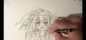Draw a girl's face in the anime style