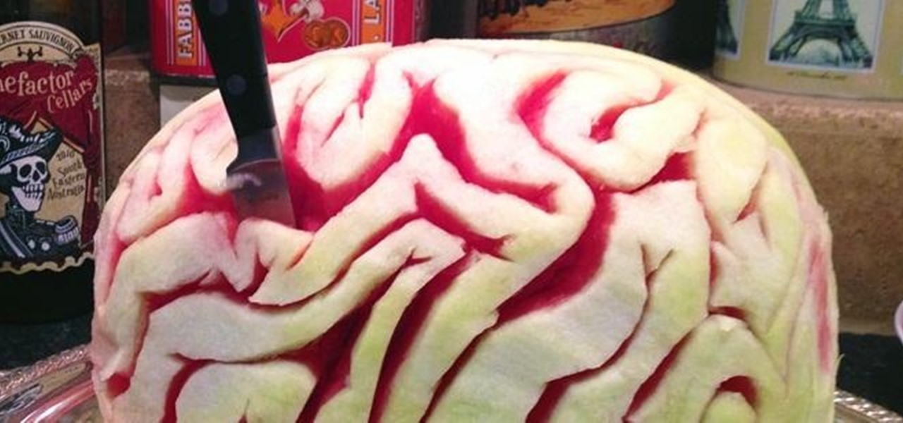 Carve a Tasty Watermelon Brain for Halloween