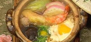 Make Japanese dish Nabeyaki udon noodle