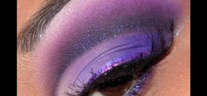 Create a dramatic purple Bollywood eye makeup look