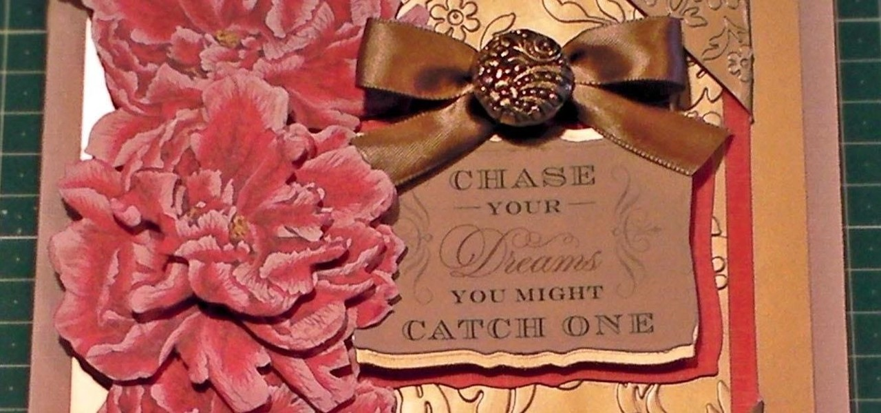 Make a Peony Decoupage Gold Embossed Card