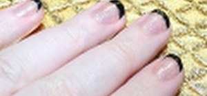 Create a black and white reverse French manicure
