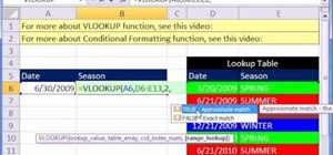 Use Excel's VLOOKUP with dates to retrieve the season