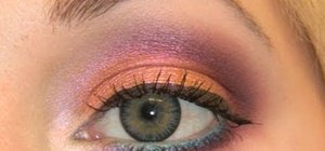 Create an orange pink makeup look for gray eyes