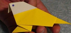 Make a tropical bird from folded paper with origami