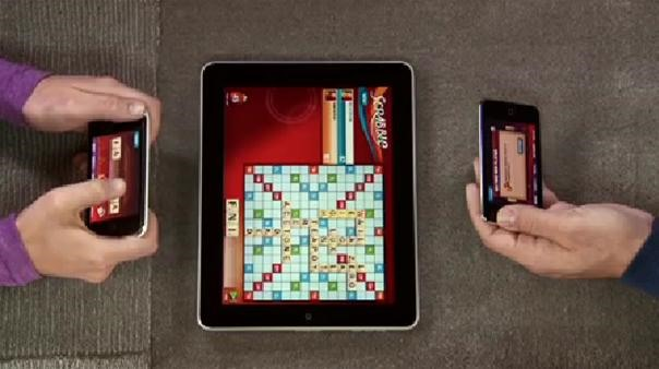 Scrabble on the iPad - Flick Tiles From an iPod Touch