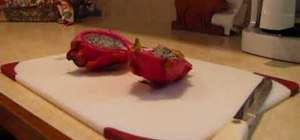 Cut and serve a dragon fruit (also known as pitahaya)