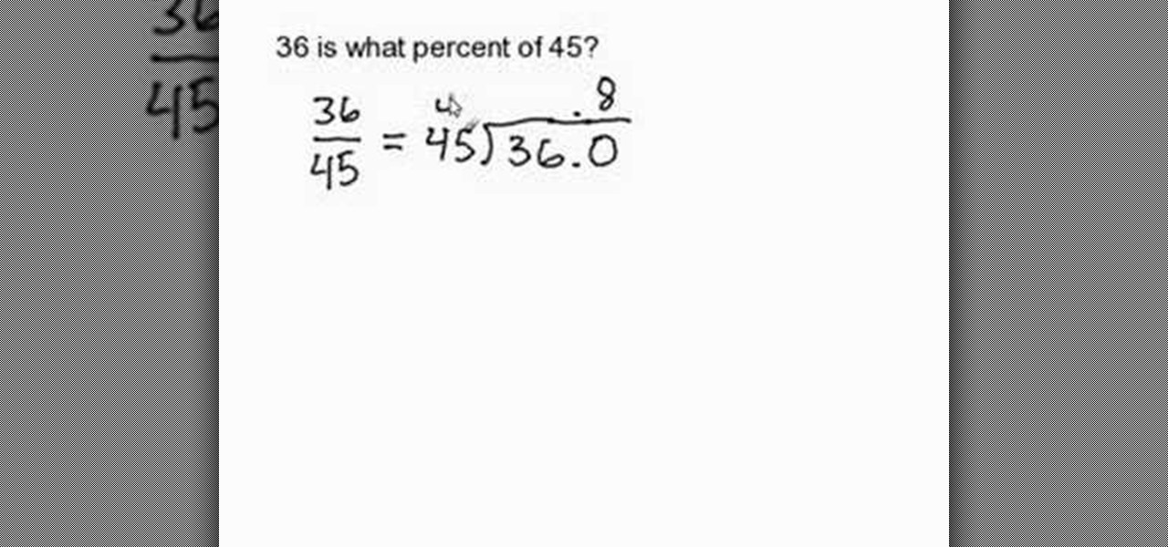 How to Find the percent given two numbers « Math