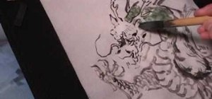 Draw a dragon in Chinese brush painting