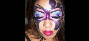 Apply a glitter makeup masquerade mask for Halloween