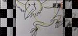 Draw a cartoon bird