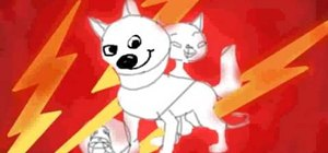 Draw the characters Super Dog Bolt, Mittens and Rhino