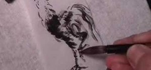 Draw a rooster in Chinese brush painting