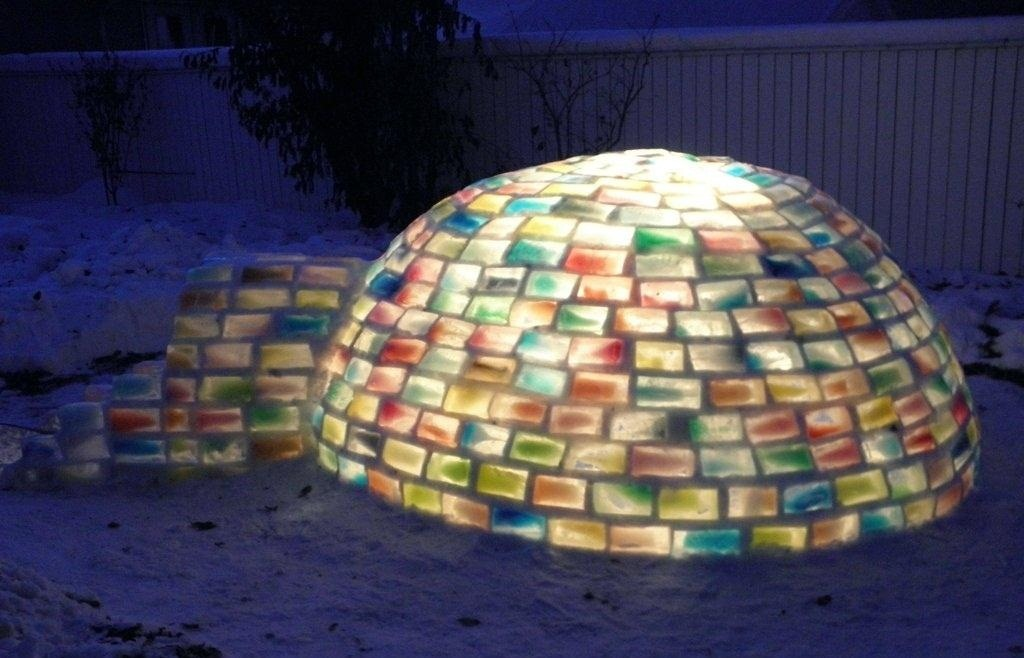 "How to Build Your Own Rainbow-Colored Igloo with Milk Carton Ice Blocks and ""Snowcrete"""