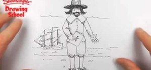 Draw a male pilgrim for Thanksgiving