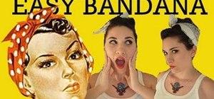Create a rockability/pin up updo with fake bangs and a bandana