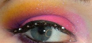 Create a bold magenta and neon yellow makeup look