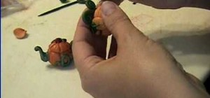 Make a mini pumpkin teapot for a dollhouse