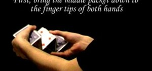 "Perform the ""stair step"" flourish card trick"
