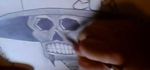 Draw a behatted calaca-style cartoon skull