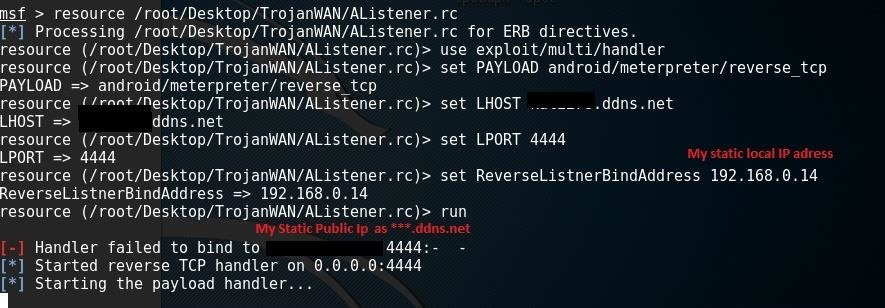 Help with Metasploit Attack Over WAN (Android)