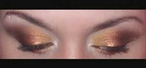 Create a gold, rust and brown eye look