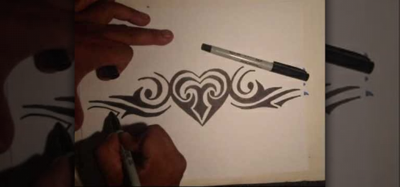How To Draw A Tribal Heart Tattoo With Markers Graffiti Urban