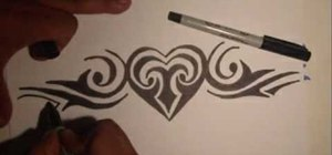 Draw a tribal heart tattoo with markers
