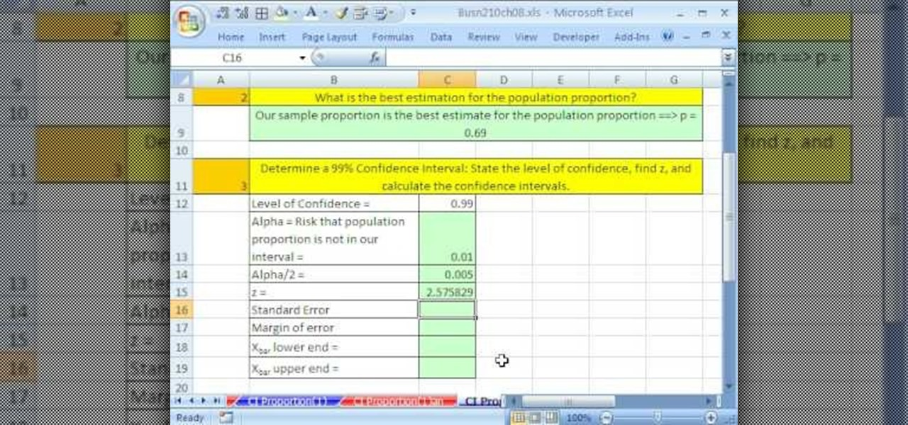 How to Create confidence intervals for proportions in Excel