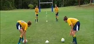 Do halfback passing race drills in Australian rugby