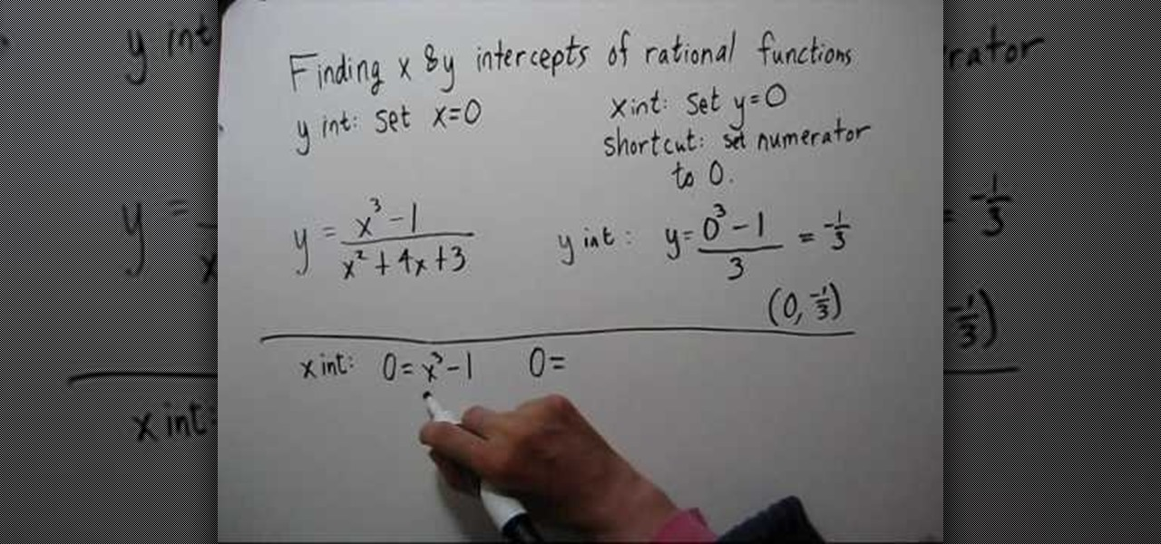 How to Find the x & y intercepts of rational functions « Math ...