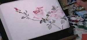 Draw roses on rice paper with watercolor paints