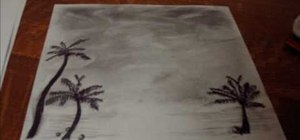 Draw a palm tree landscape