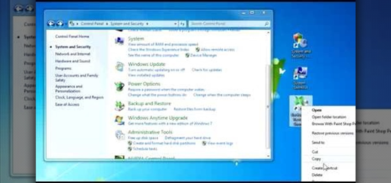 How to Create quick control panel shortcuts in Windows 7
