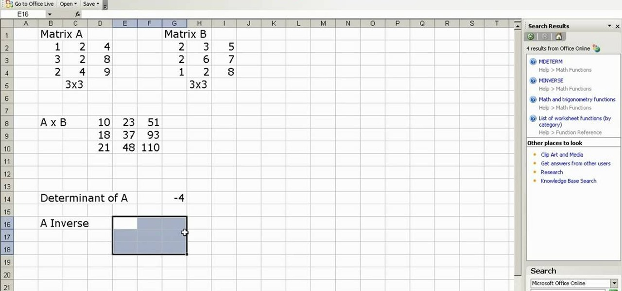 how to do matrix multiplication and inverse in ms excel microsoft office wonderhowto. Black Bedroom Furniture Sets. Home Design Ideas