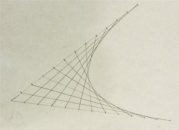 Line Drawing Pictures : How to create parabolic curves using straight lines « math craft