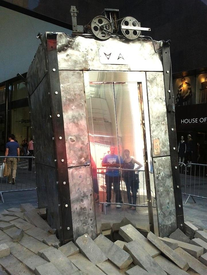 Steampunk Elevator Erupts from Underground