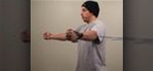 Do a pec fly exercise with resistance tubing