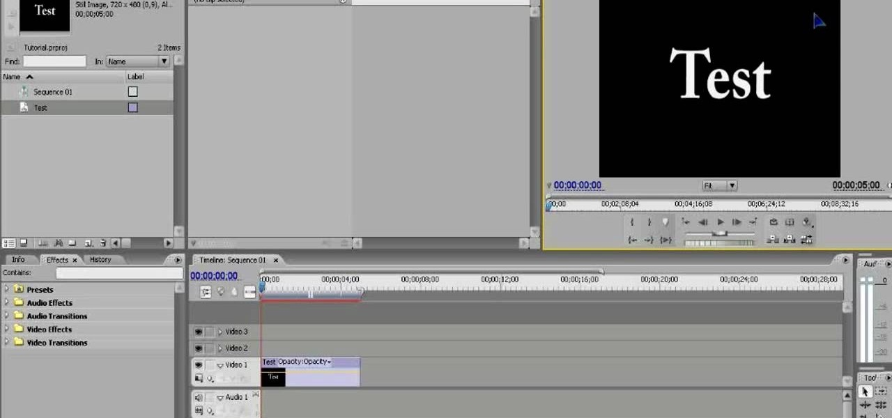 How to start a new project using adobe premiere pro cs3 adobe how to make basic titles using adobe premiere pro cs3 ccuart Gallery